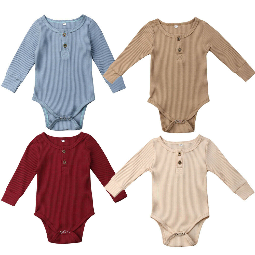 2019 Newborn Infant Baby Girl Boy Ribbed Bodysuit Ruffle One-Pieces Solid Jumpsuit Long Sleeve Outfits Spring Sunsuit