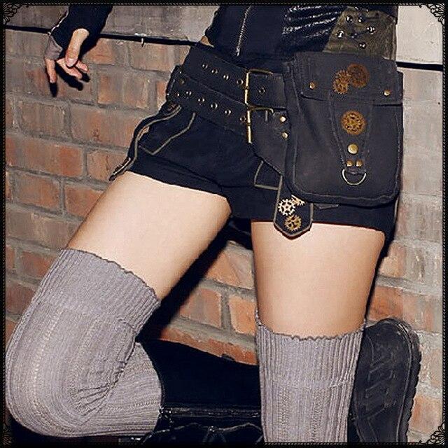 Saco Coldre de Rock Do Punk Do vapor Goth Steampunk Retro saco de Lona Ombro Saco da cintura Das Mulheres e Homens Coxa de embreagem saco das mulheres Do Punk Do Vapor