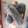 silver fox Winter Women's Real Fox Fur Scarf Fox Fur Cap Fur Collar Scarves 80cm Collar Soft Fur Scarf Neck Warmer L#45