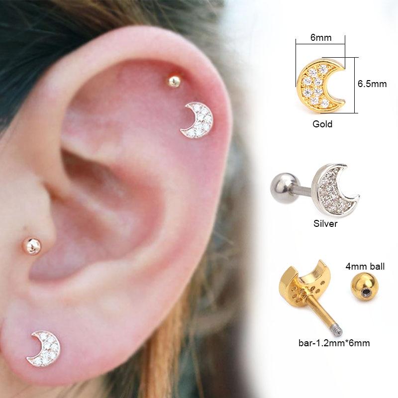 Sellsets 1pc Cz Moon Cartilage Stud Helix Cartilage Piercing