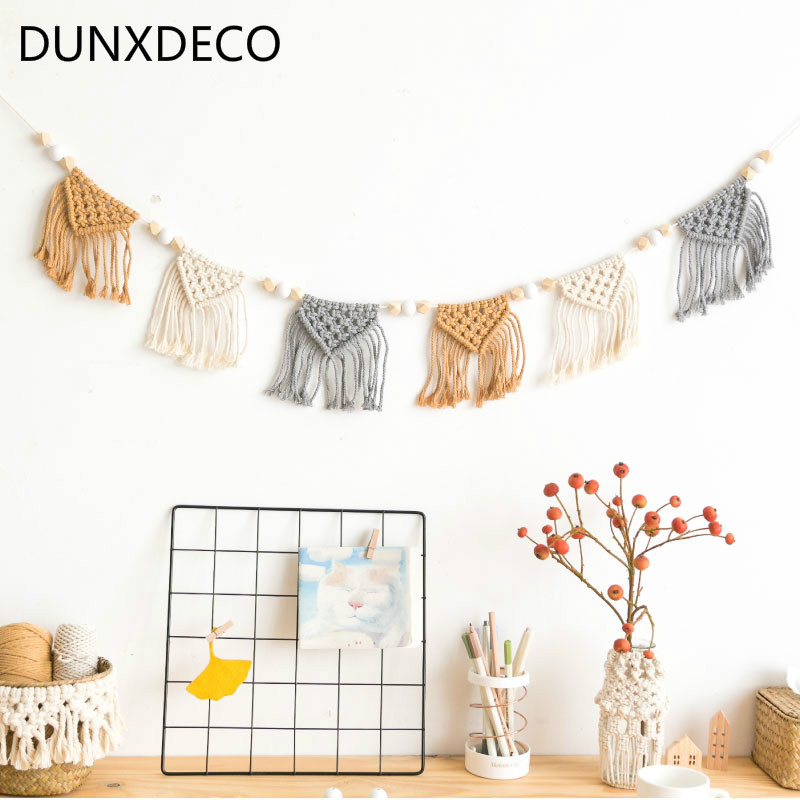 DUNXDECO Home Decoration Accessories Party Hanging Cotton Thread Handmade Weaving Ornament Nordic Fresh Simple Kid Room Wall Dec
