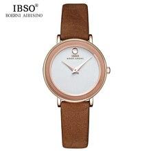 IBSO Brand 6MM Ultra-Thin Women Watches 2019 Luxury Genuine Leather Strap Fashion Quartz Watch Women Waterproof Montre Femme
