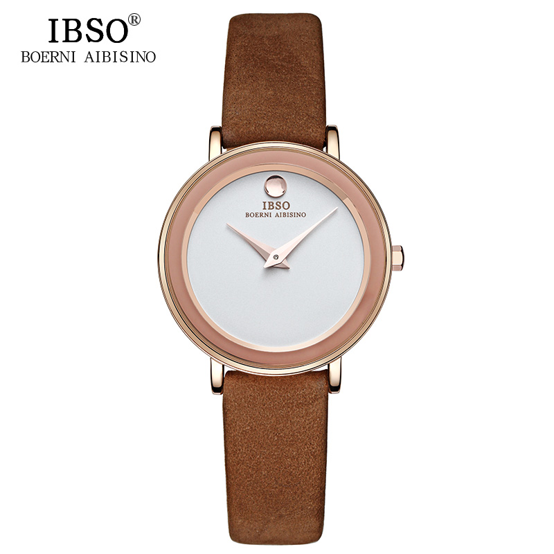 IBSO Brand 6MM Ultra-Thin Women Watches 2018 Luxury Genuine Leather Strap Fashion Quartz Watch Women Waterproof Montre Femme ibso brand fashion ultra thin quartz watch women stainless steel mesh and leather strap women watches 2018 fashion montre femme