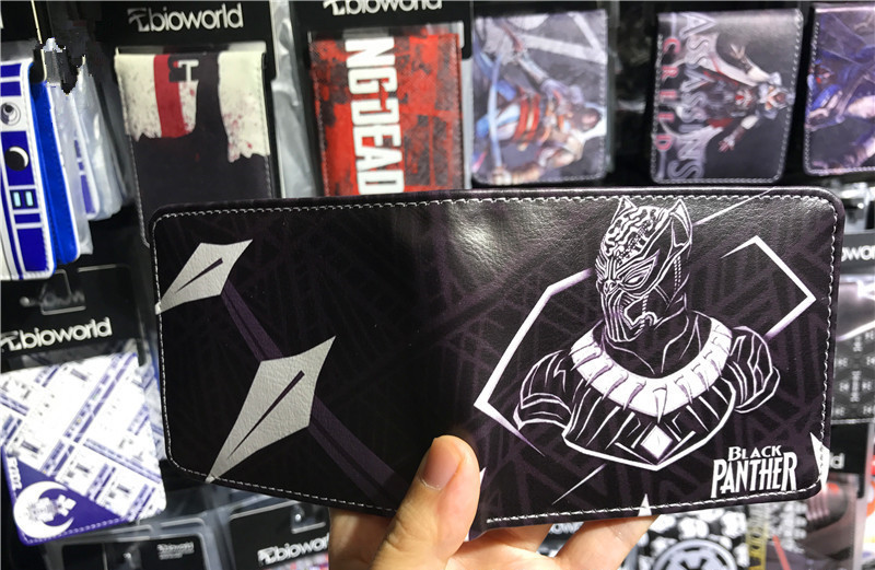 Black Panther PU Short Wallets Marvel Comics Superheroes wallet male and female student Bifold Purse цены