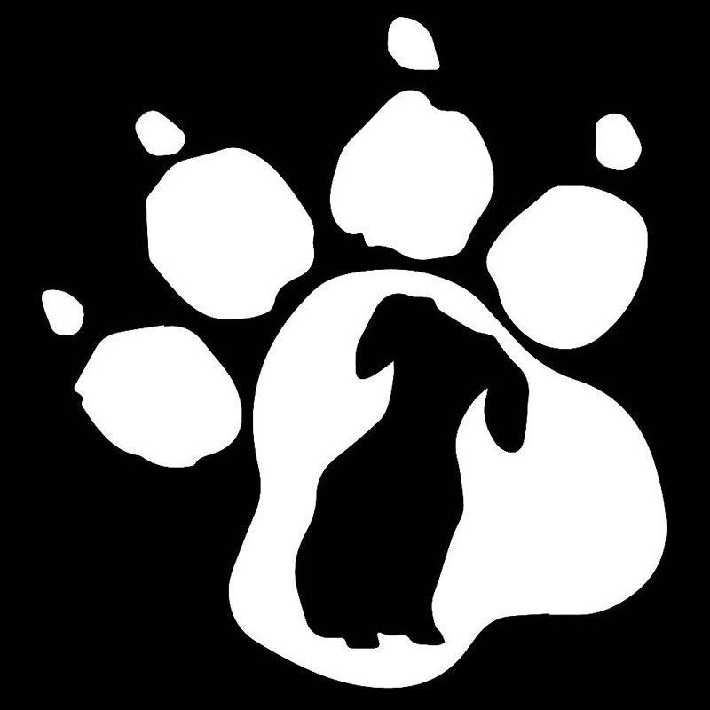 14.9*16 CM Impresión de La Pata del Perro Dachshund Etiqueta Del Vinilo Del Coch