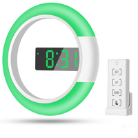 Remote control digital wall clock Creative LED mirror hollow wall clock with alarm/temperature Ring light Multicolor switching