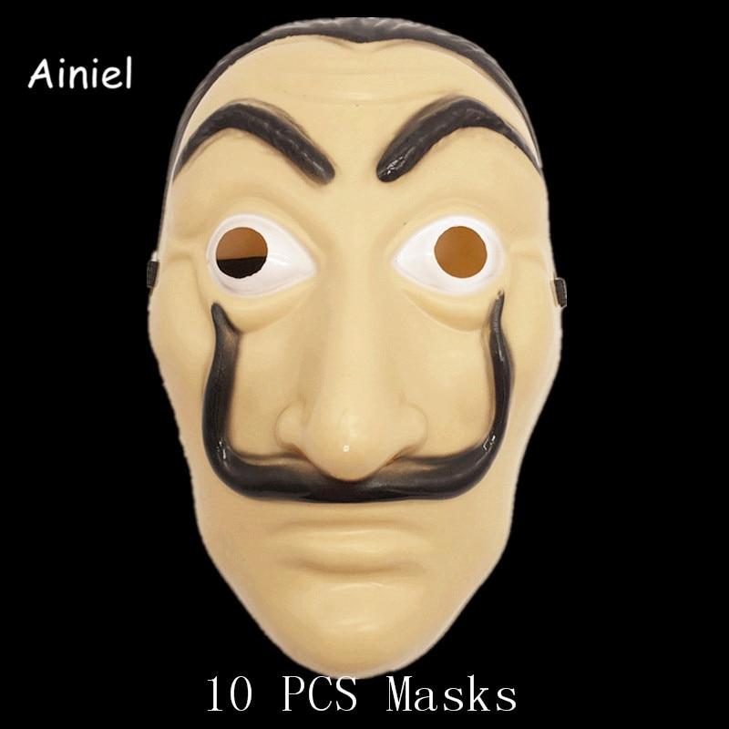Ainiel Wholesale 10 Pieces Salvador Dali Masks Cosplay La Casa De Papel Dali Plastic Mask  Halloween Carnival Party For Adult