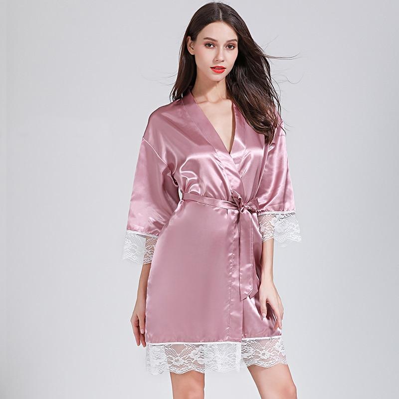 Lace Sexy Women Nightwear Robes Plus Size Wedding Kimono Satin Silk Female Bathrobes Bridemaids Robes Personalized Name