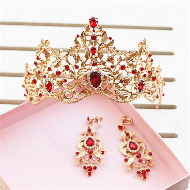 Baroque Style Gold Leaf Red Green Crystal Wedding Tiara Crown Earring Set Pageant Bridal Queen Princess