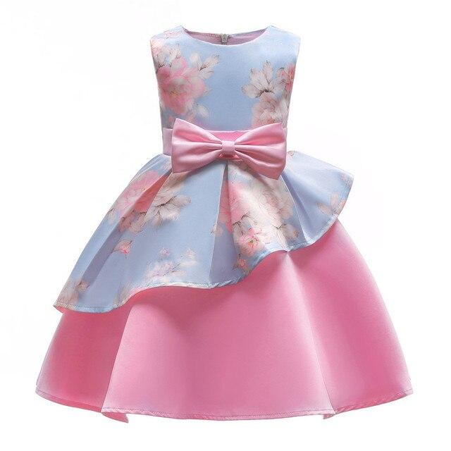 Beautiful Bow Front Formal Ball Gown Princess Dress Childrens Girls Flower Printed Female Kids Bow Mesh Dresses Wedding Dress