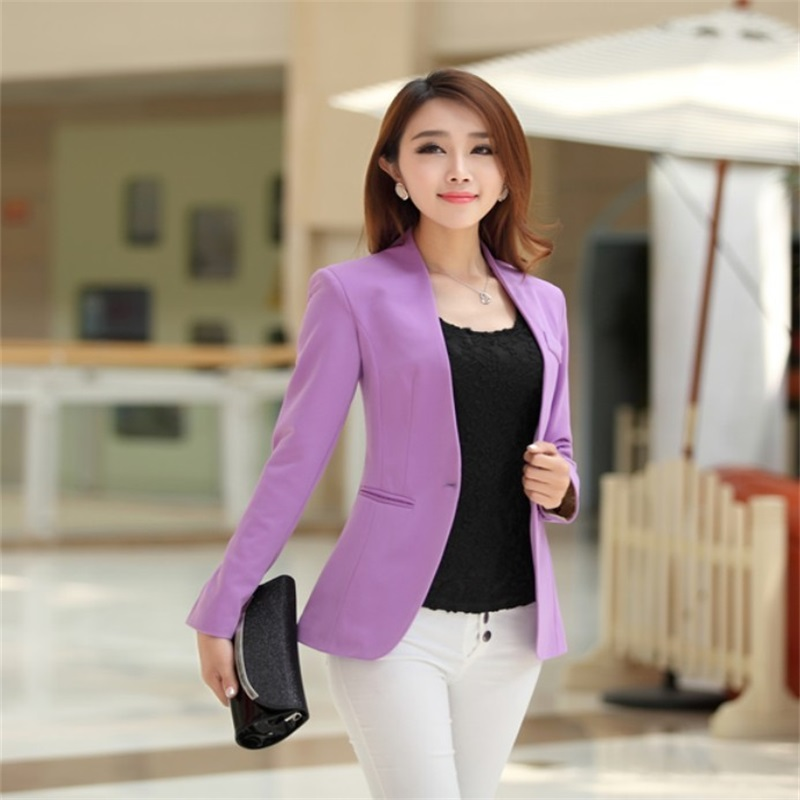 1189b1cf864 fashion Autumn ladies cardigan and jacket candy color coat long sleeves  Slim suit single button female jacket large suit jacket -in Blazers from  Women's ...