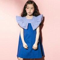 Kids Summer Dress Cotton Girls Dresses 2019 Children Sleeveless Princess Dress Ruffle Baby 4 16Y Teenager Kids Clothes