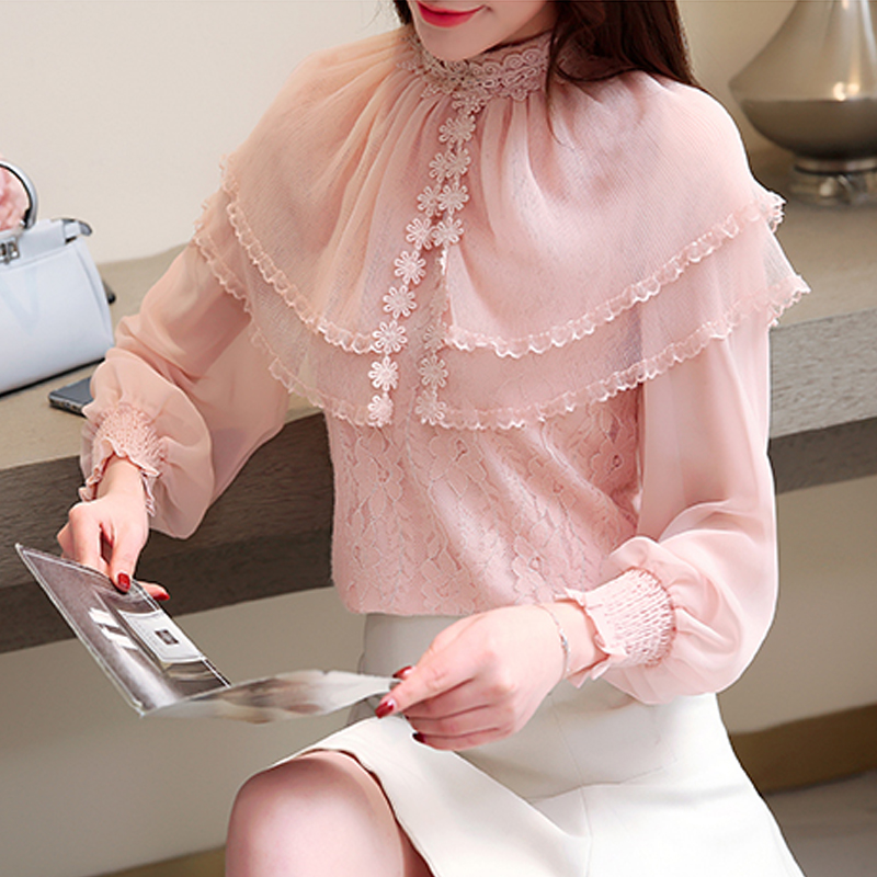 Spring 2019 flower floral   Blouse     shirt   lace stitching Chiffon   Shirt   long Sleeved white pink lace   blouse     shirt   Women tops 858E3