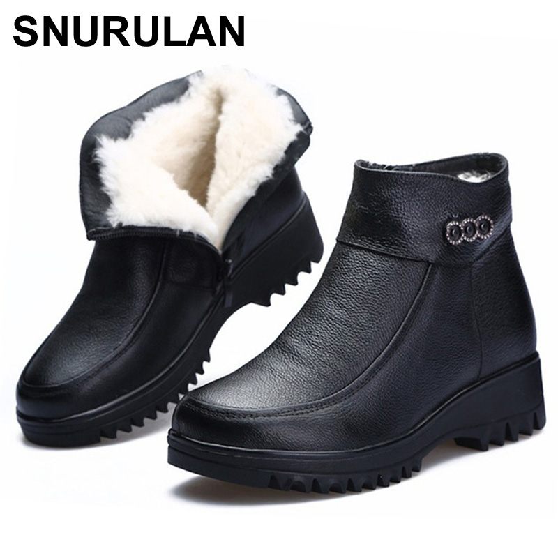 SNURULAN Winter Snow Boots Women Ankle Boot Wedge Platform Heel Waterproof Natural Wool Fur Warm Women Boots shoes Big SizeE025SNURULAN Winter Snow Boots Women Ankle Boot Wedge Platform Heel Waterproof Natural Wool Fur Warm Women Boots shoes Big SizeE025