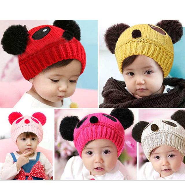 59bdeec19fbd1 Cap Lovely Cute Panda Style Warm Woolen Cap Baby Hats and Caps Kids Boy  Girl Crochet Beanie Hat Winter Cap For Children Chapeau