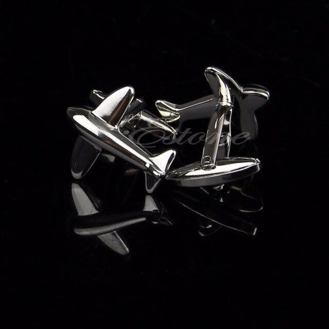 Stainless Steel Silver Vintage Mens Wedding Gift Cufflink Plane