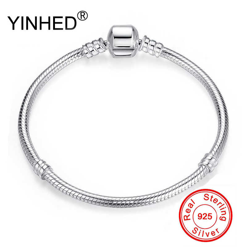 YINHED 95% OFF BIG SALE Authentic 100% 925 Sterling Silver Snake Chain Bangle & Bracelet Luxury Jewelry 17-21CM Women Gift ZB028