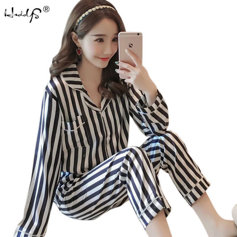 087dddb323 Autumn New Arrival Womens Silk Satin Pajama Pyjamas Sets Long Sleeve  Sleepwear Set Two-pieces