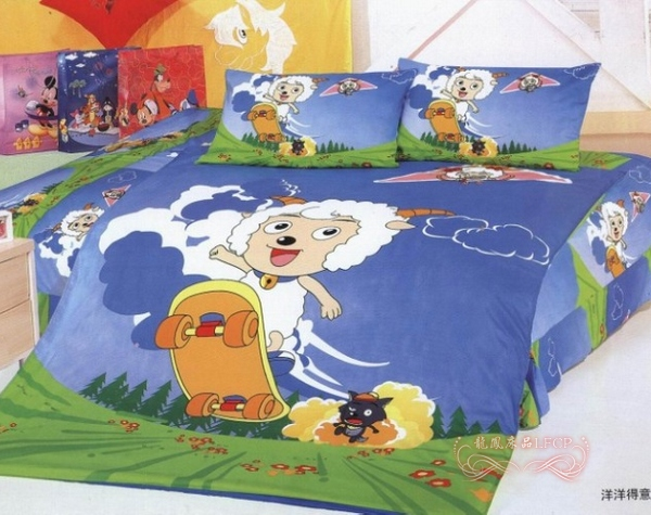Active 100% Cotton Cartoon Bedding Jubilance Piece Set Blue Child Bed Sheets  Customize
