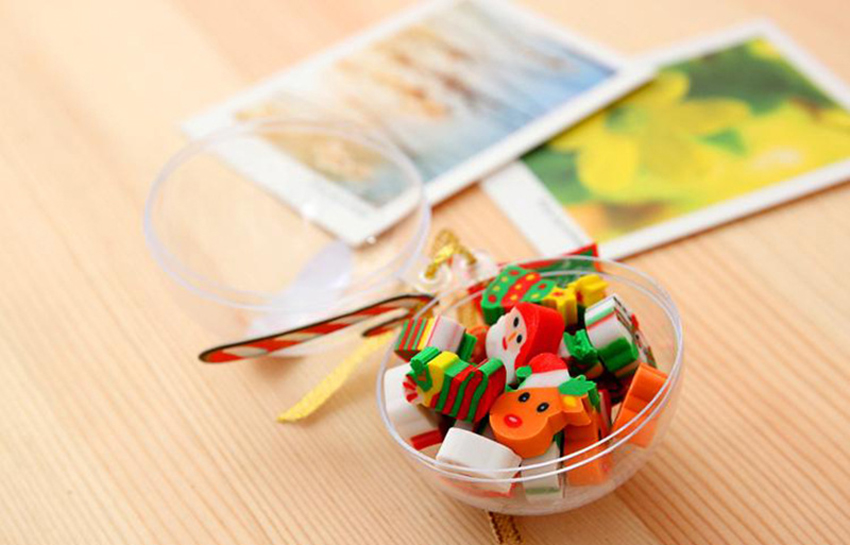 20 шт/шар Рождественский подарок Санта Снеговик ластик с прозрачной упаковкой шариковый карандаш для письма ластик канцелярский подарок для детей