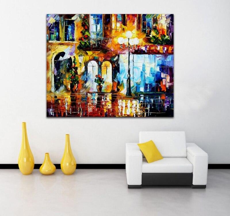 attractive city art 100 handpainted color palette canvas painting unique wall picture - Unique Picture Frames