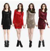 Autumn Winter 2013 New Women S Clothing Collar Long Wool Sweater Dresses Sequins Render Unlined Upper