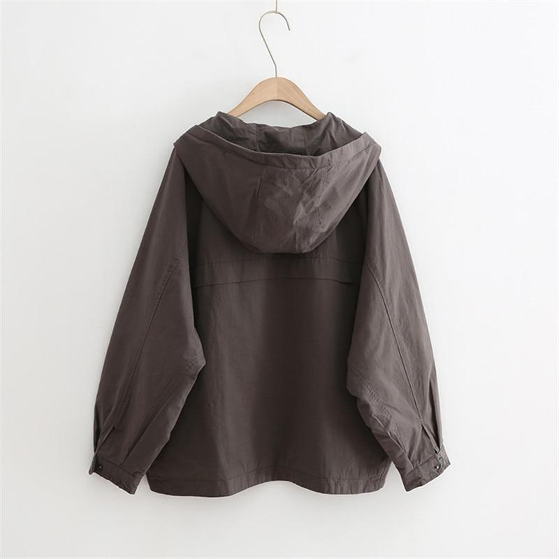 Spring Autumn Vintage Hooded Jacket Women Windbreaker Big size Short Coat Women Harajuku Loose Basic Coats Long Sleeve Outerwear