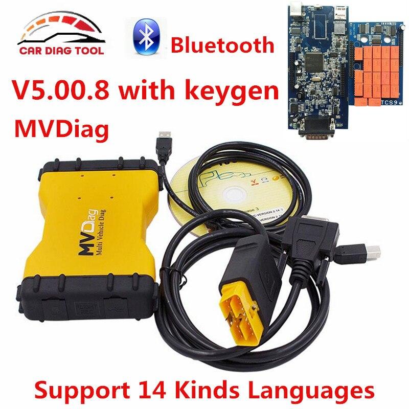 Prix pour 2017 TCS MVD Bluetooth V5.00.8R2 Keygen Logiciel Outil De Diagnostic Pour Voitures/Camions/Générique 3 Dans 1 MVDiag Scanner Multi Véhicule Diag