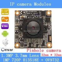 HD 1280 720P 1 0 Megapixel 32 32mm IP Camera Module Upgrade HI3518E OV9732 1 3MP