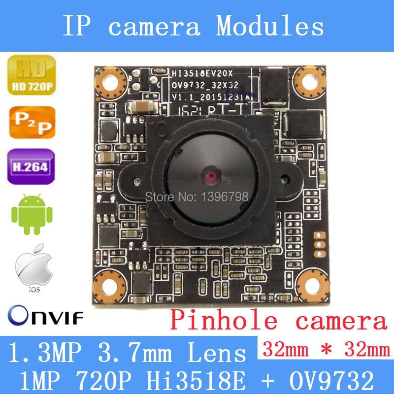 HD 1280 * 720P 1.0 Megapixel 32 * 32mm IP Camera module upgrade HI3518E + OV9732 1.3MP 3.7MM Lens Mini Pinhole Security Camera