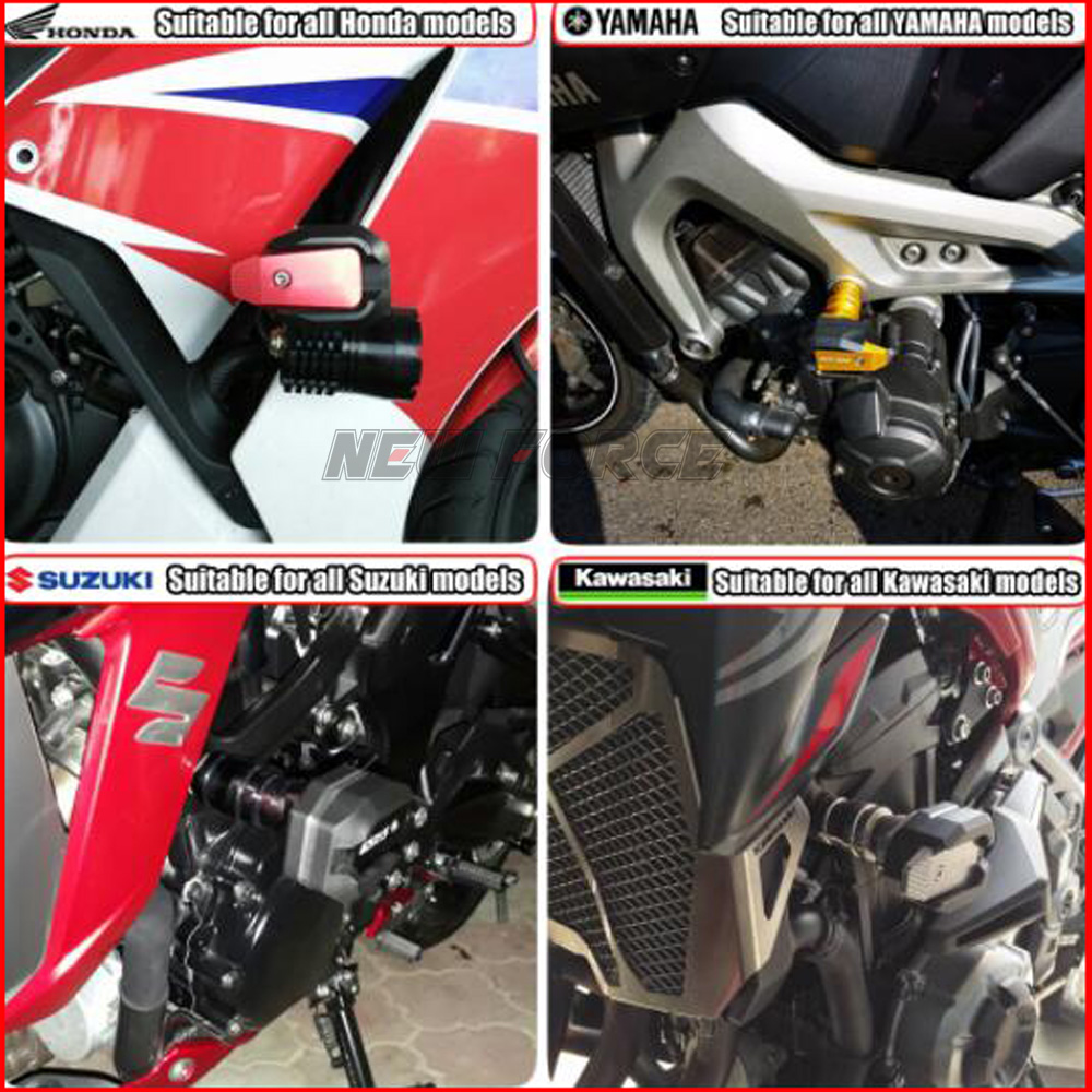 No Cut Frame Slider Protector Compatible with 2002 2003 Kawasaki Zx9R Zx-9R Zx 9R Black HTTMT MT219-030