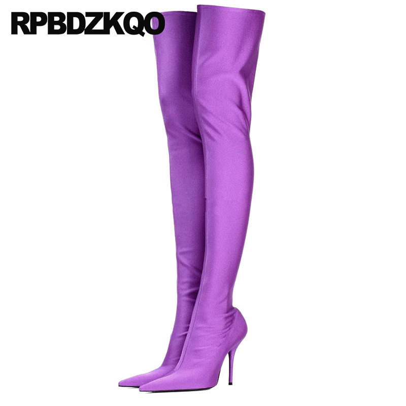 1ada28aae936 Pointed Toe Shoes Satin Designer Over The Knee Dance Purple Stiletto Crotch  High Big Size Heel 12 44 Thigh Boots For Plus Women