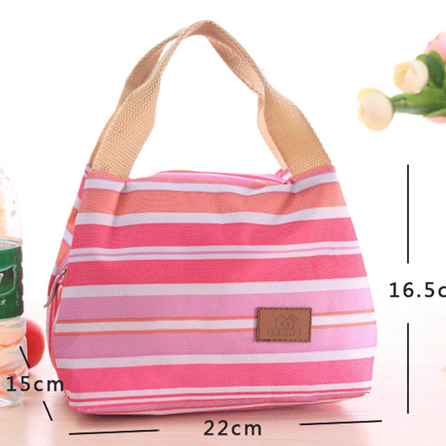 Lunch Bag Thermal Stripe Tote Bags Cooler Picnic Food Lunch box bag for Kids Women Girls Ladies Man