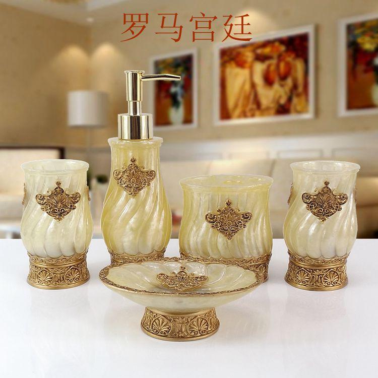 Résine salle de bain accessoires ensemble 5 pièces porte-brosse à dents Lotion distributeur savon anniversaire mariage cadeau - 5