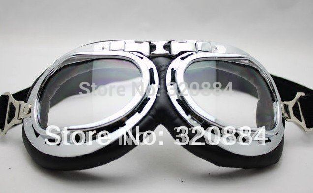 In stock 2014 new 2014 new  Aviator Pilot Cruiser Motorcycle Scooter ATV Goggle Eyewear T01A Clear Lens