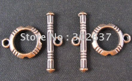 FREE SHIPPING 180sets Antiqued copper knotted circle toggle clasps A322C