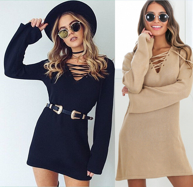 Kaywide Women Autumn Sweater Dresses Deep V Neck Long Sleeve Casual Woman Dress Bodycon Lace Up Sexy Vestidos A16331