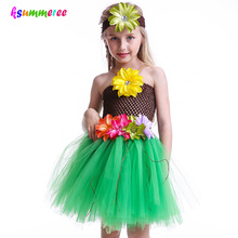 Summer Lily Hawaiian Grass Tutu Dress with Headband Girls Holiday Flower Costume Children Princess Tulle Dress Baby TUTU Clothes 2019 summer new girls dress baby princess mesh dress tutu child flower vestido children clothing baby costume