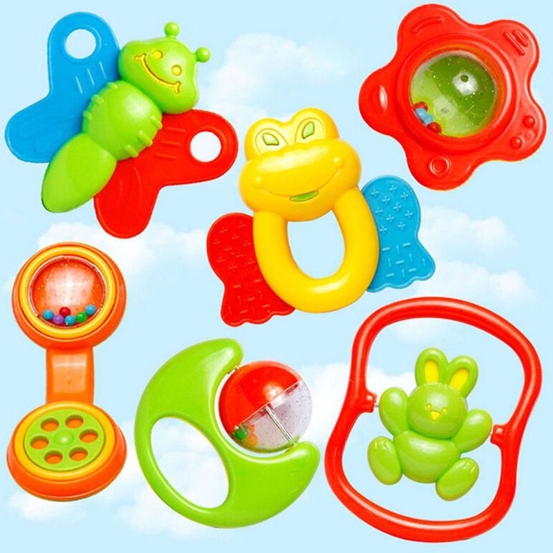 2016 New 6pcs/lot Lovely Plastic Baby Toys Hand Shake Bell