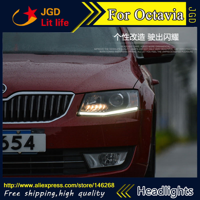 Free shipping ! Car styling LED HID Rio LED headlights Head Lamp case for Skoda Octavia 2015 Bi-Xenon Lens low beam