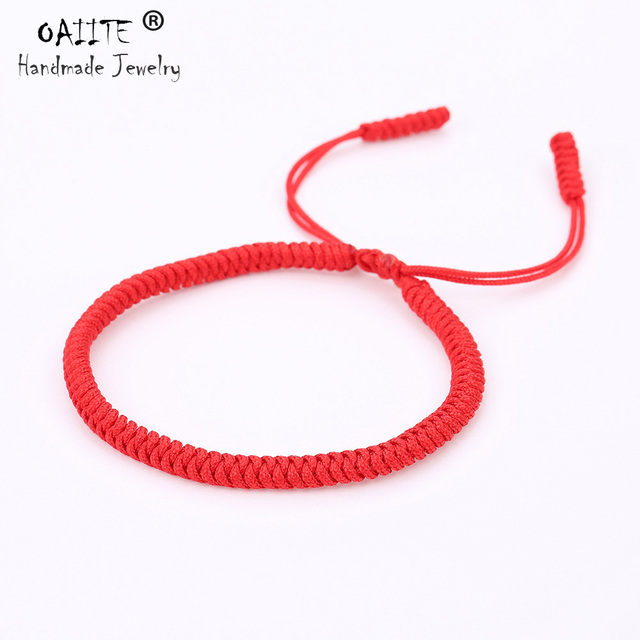 Oaiite Knots Tibetan Buddhist Handmade Bracelet Lucky Blessed Red String Rope Braided Bangle Pure Color Adjule
