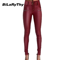 BiLaRyThy Hot Sale Women Sexy Wine Red Coated Jeans High Waist Double Size Zippered PU Imitation