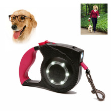 New Reflective Dog Nylon Leash With LED Light Pet Retractable Led Flexible Leashes Cat Automatic Leads For Big Dogs