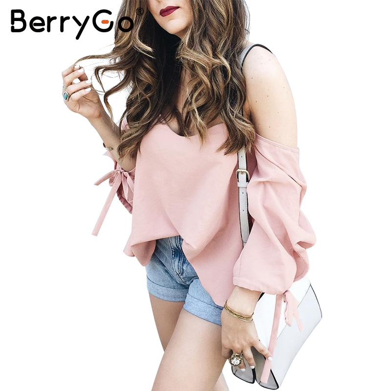 BerryGo Off shoulder white   blouse     shirt   Plaid beach white   blouse   women tops Summer 2017 sexy striped feminine blusas