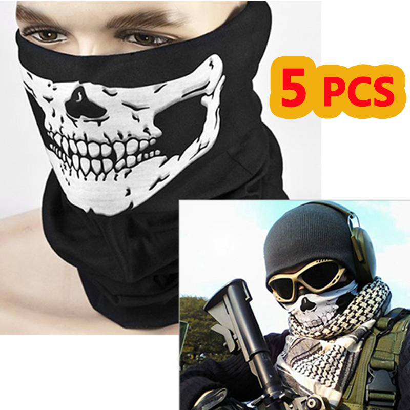 Adaptable 5 Pcs Multifunction Ghost Skull Motorbike Motorcycle Face Mask Tactical Hunting Outdoor Military Cycling Motocross Face Mask