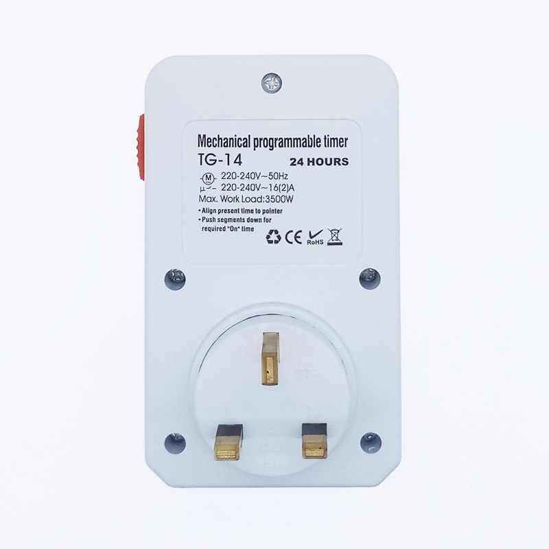 Minuterie cyclique 24 heures interrupteur minuterie de cuisine prise de courant universelle minuterie mécanique 230VAC 3500 W 16A UK EU CN US Plug