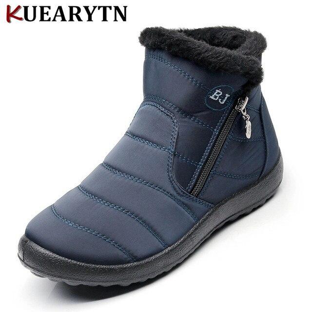 Talla grande 35-43 2018 invierno nuevas botas de nieve tubo grueso de felpa impermeable botas de algodón con cremallera lateral botas de mujer