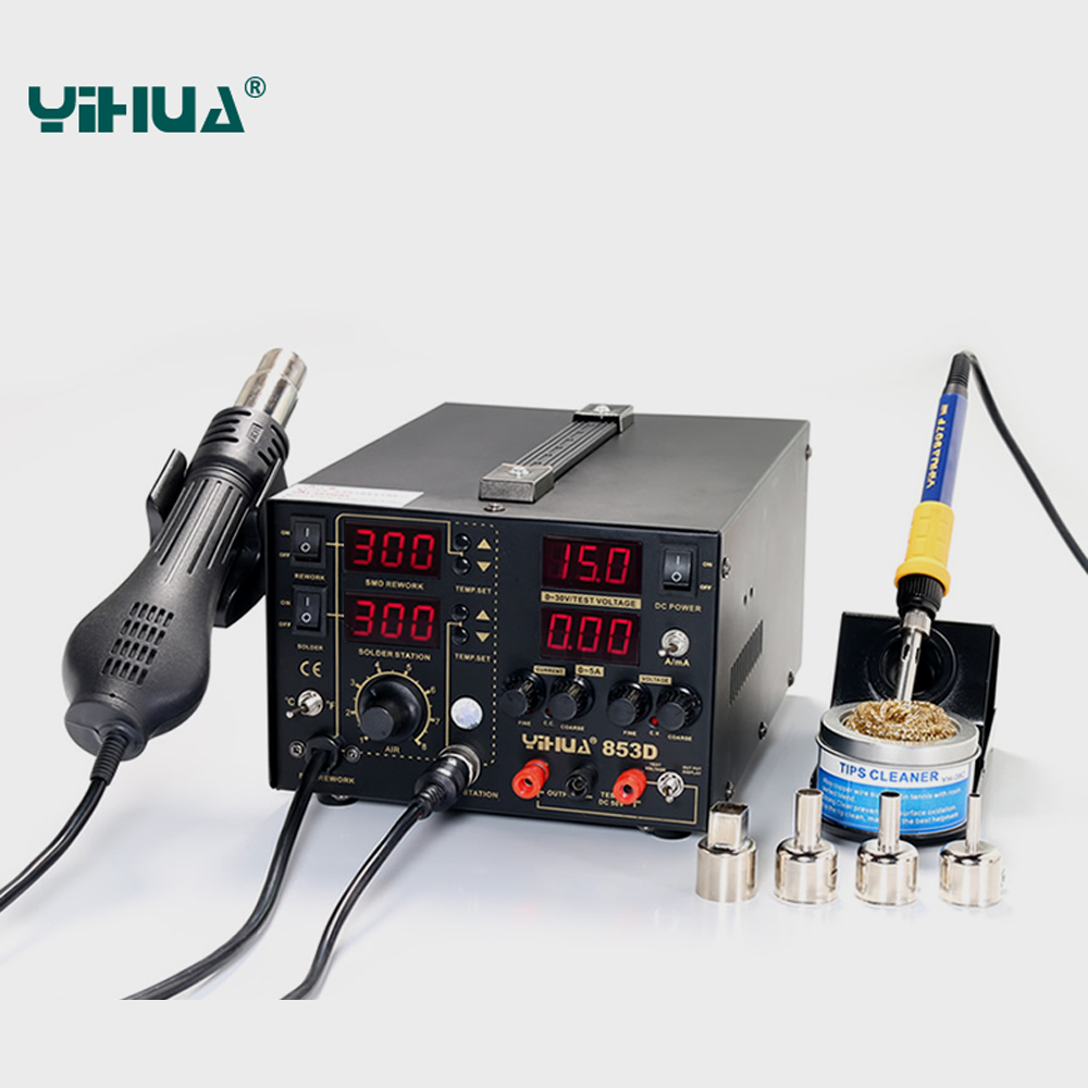 YIHUA 853D 5A 3 IN 1 SMD DC tápegység Forrólevegős pisztoly - Hegesztő felszerelések - Fénykép 1