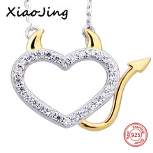XiaoJing 100% 925 sterling silver diy design love heart pendant chain necklace with CZ fashion jewelry making for women gifts