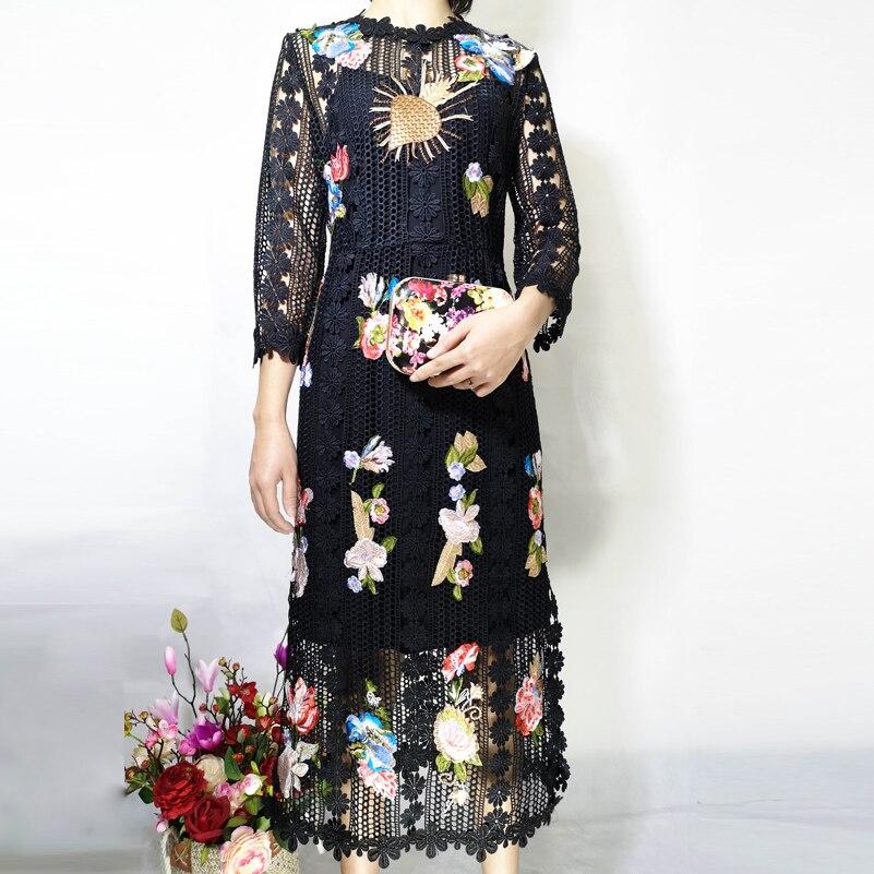 Haute qualité créateur robe de piste femmes 3/4 manches fleur Applique de luxe brodé dentelle haute rue mode mi mollet robe - 4